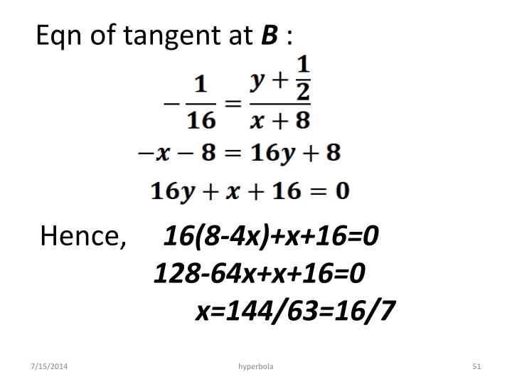 Eqn of tangent at