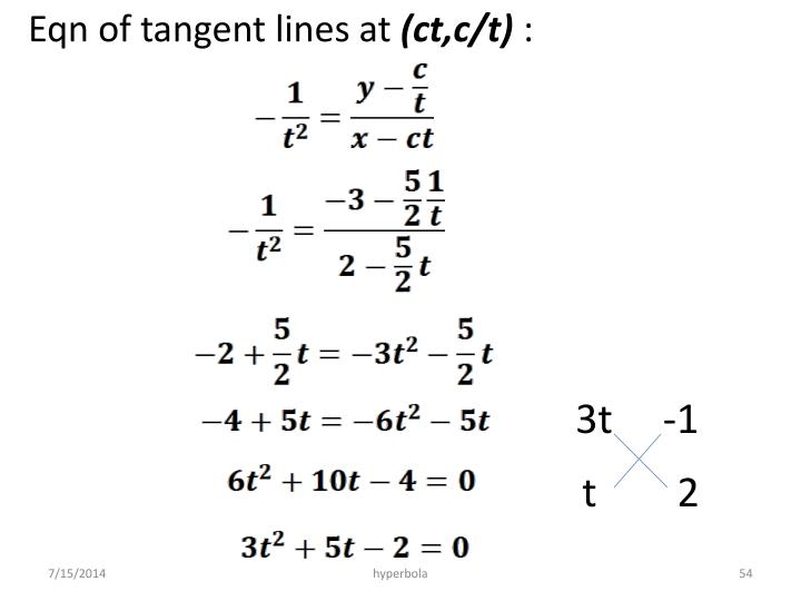 Eqn of tangent lines at