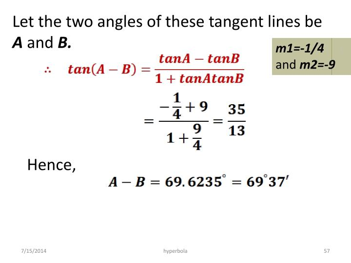 Let the two angles of these tangent lines be