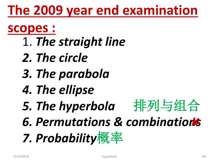 The 2009 year end examination scopes :