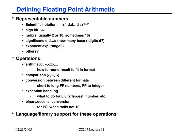 Defining Floating Point Arithmetic