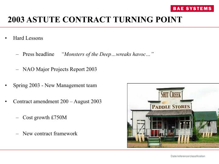 2003 astute contract turning point