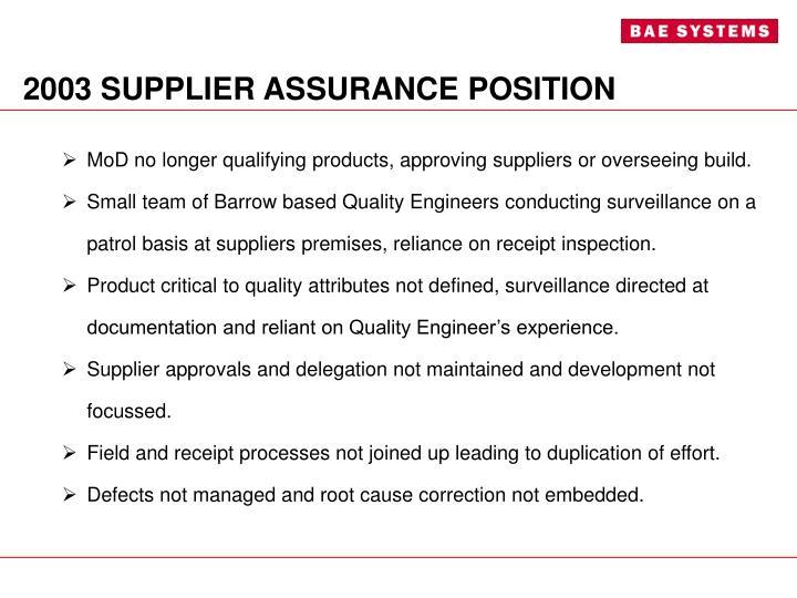 2003 supplier assurance position