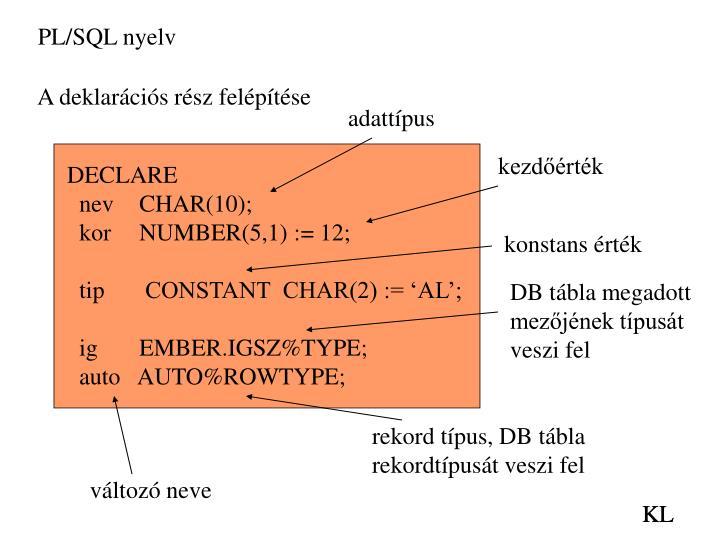 PL/SQL nyelv