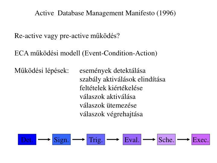 Active  Database Management Manifesto (1996)