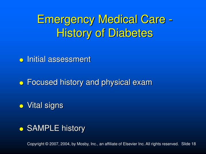 Emergency Medical Care - History of Diabetes