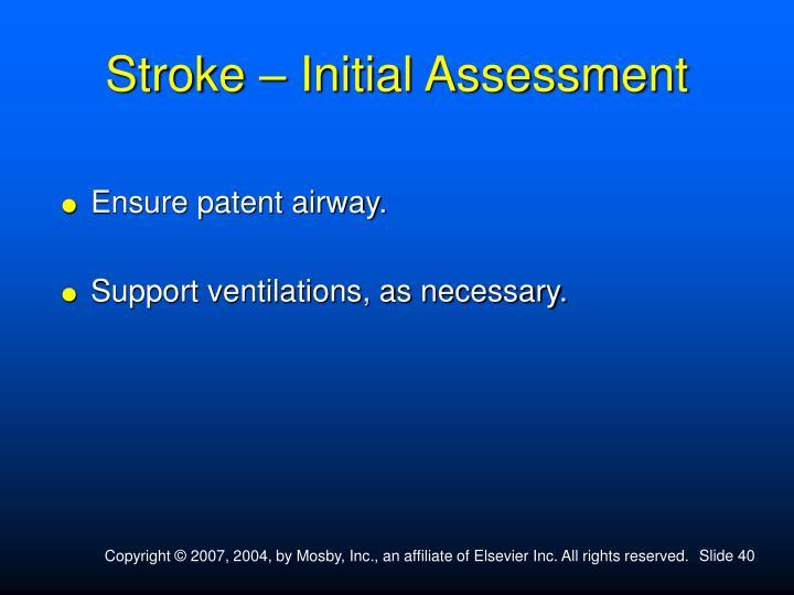 Stroke – Initial Assessment