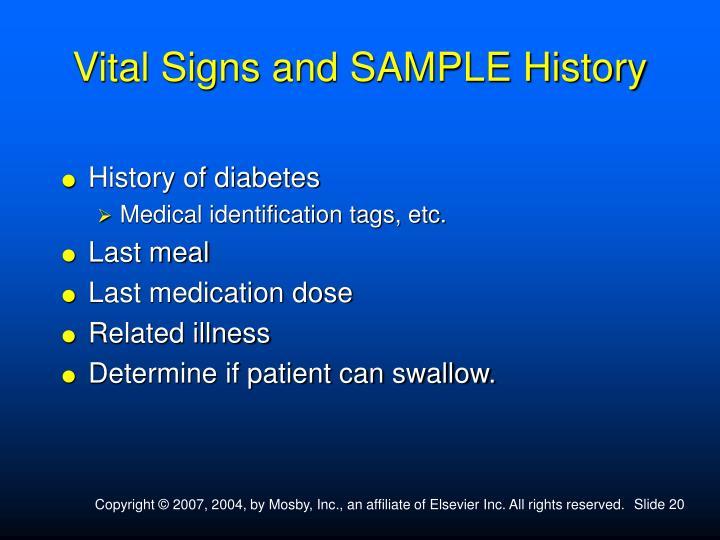 Vital Signs and SAMPLE History