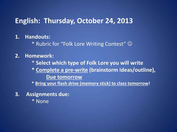 english thurs day october 24 2013 n.
