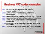 business vat codes examples
