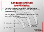 language and sex identification