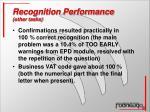 recognition performance other tasks