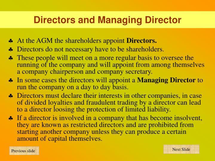 Directors and Managing Director