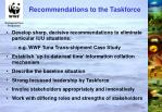 recommendations to the taskforce