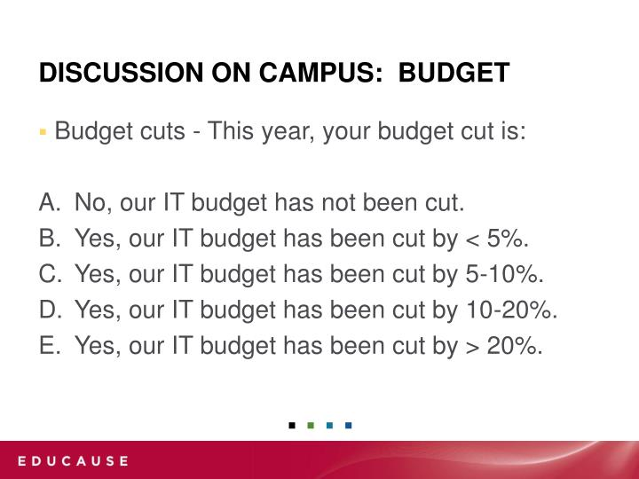 Budget cuts - This year, your budget cut is: