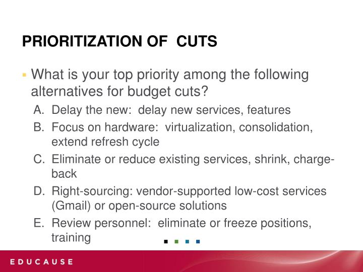 What is your top priority among the following alternatives for budget cuts?