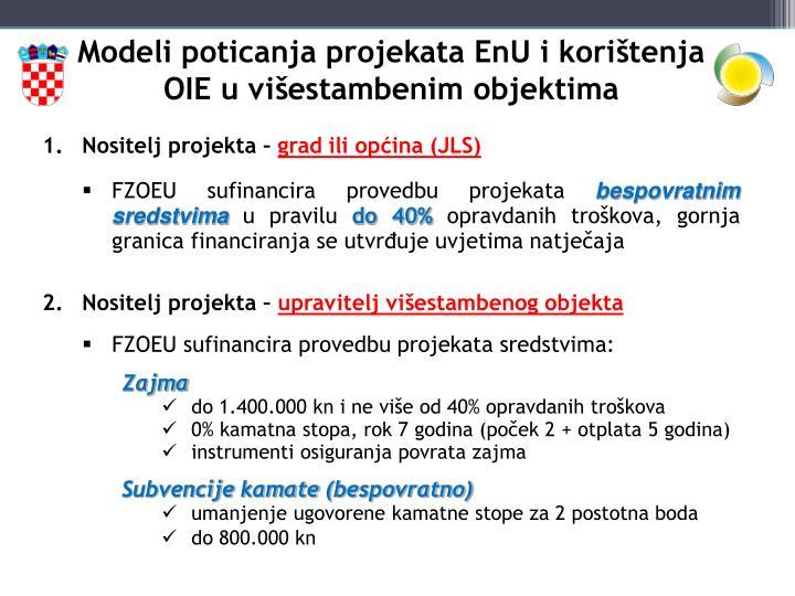 Modeli poticanja projekata EnU i korištenja OIE u višestambenim objektima