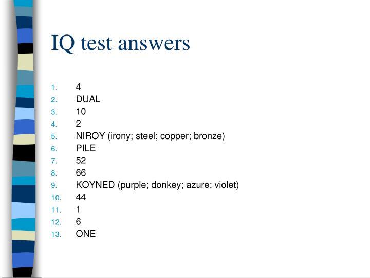 IQ test answers