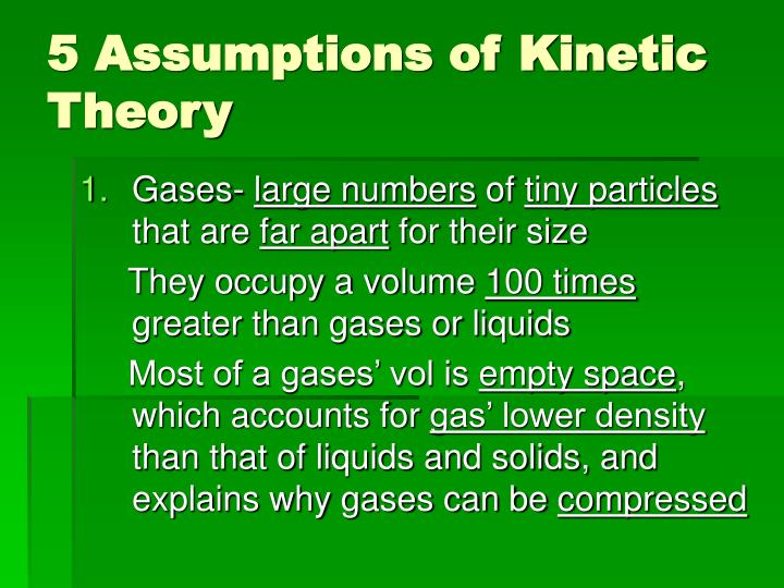 5 assumptions of kinetic theory