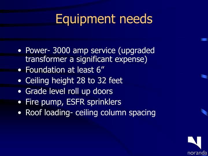 Equipment needs