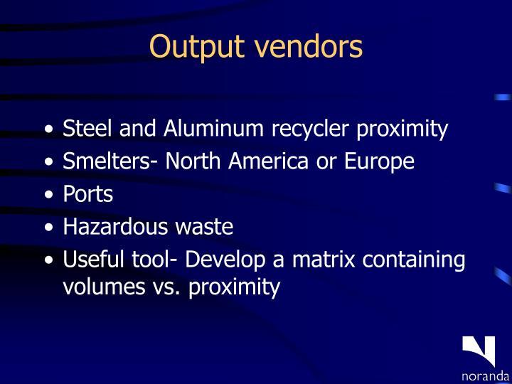 Output vendors