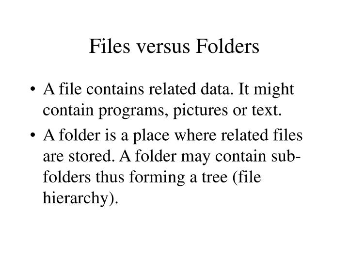 Files versus folders