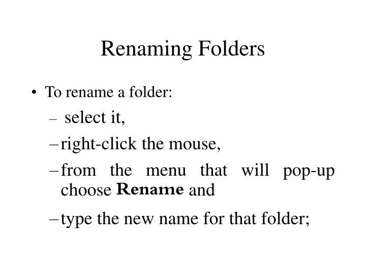 Renaming Folders