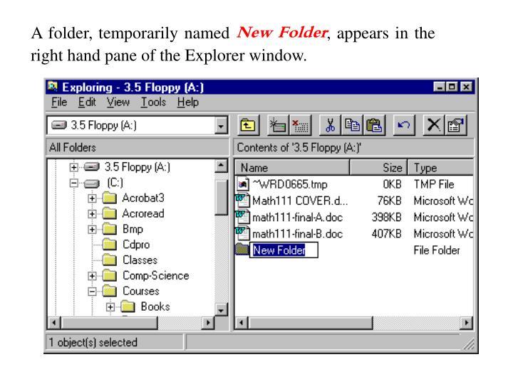 A folder, temporarily named
