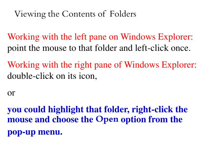 Viewing the Contents of  Folders