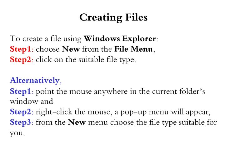Creating Files