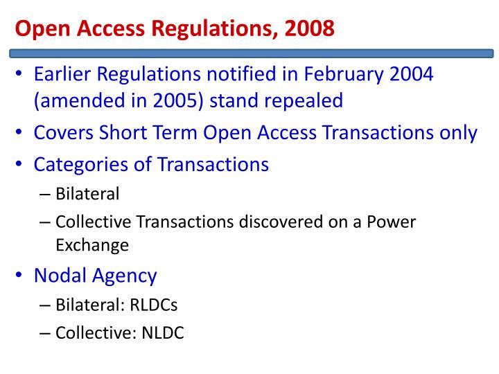 Open Access Regulations, 2008