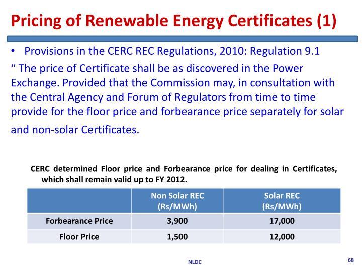 Pricing of Renewable Energy Certificates (1)