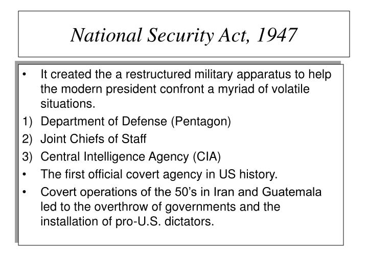 National Security Act, 1947