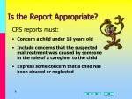 is the report appropriate