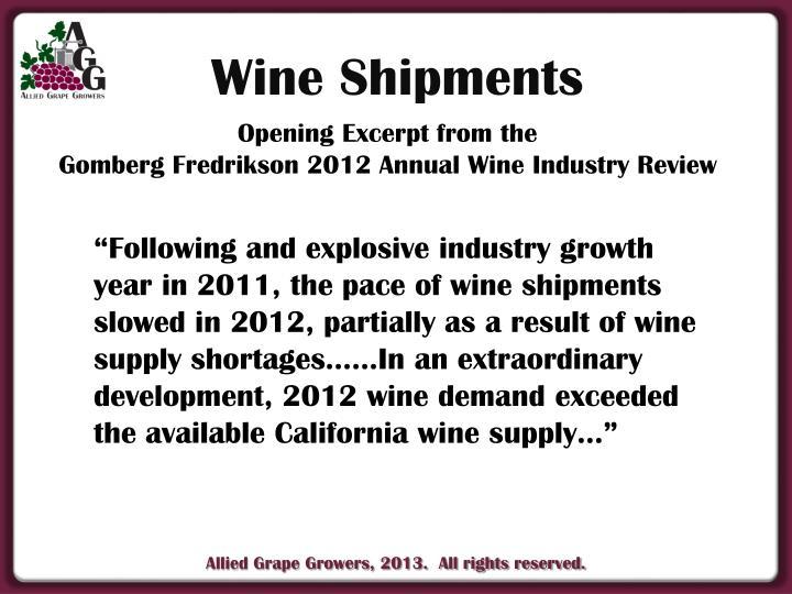 Wine Shipments
