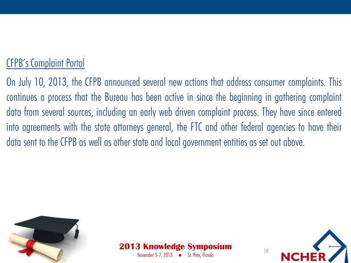 CFPB's Complaint Portal