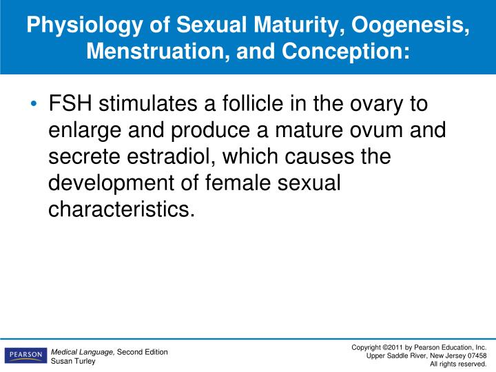 Physiology of Sexual Maturity, Oogenesis, Menstruation, and Conception: