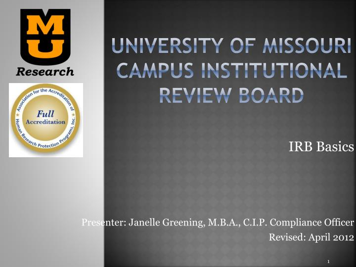 university of missouri campus institutional review board n.