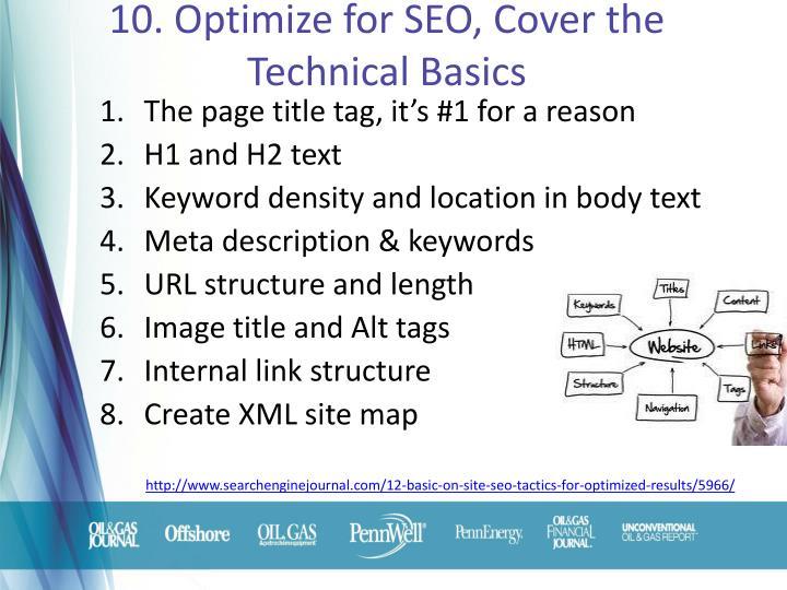 10. Optimize for SEO, Cover the Technical Basics