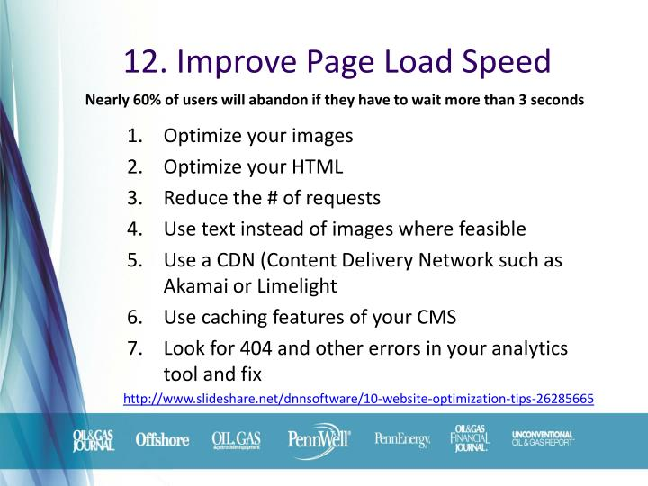 12. Improve Page Load Speed
