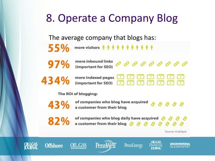 8. Operate a Company Blog