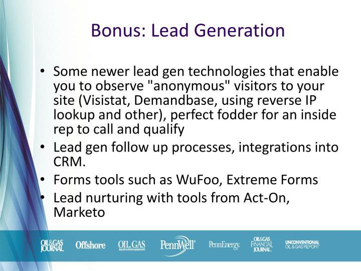 Bonus: Lead Generation