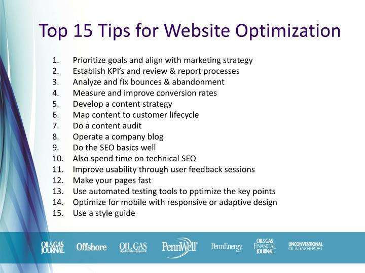 Top 15 Tips for Website Optimization