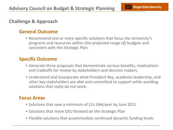 Advisory council on budget strategic planning