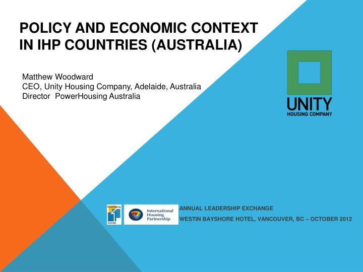 policy and economic context in ihp countries australia n.