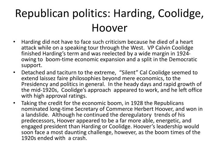 Republican politics: Harding, Coolidge, Hoover