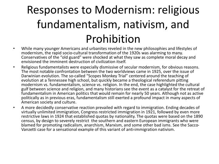 Responses to Modernism: religious fundamentalism,