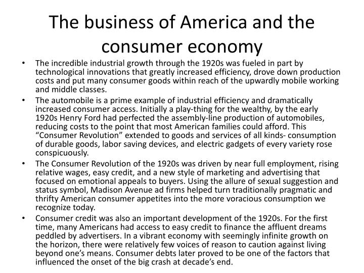The business of america and the consumer economy