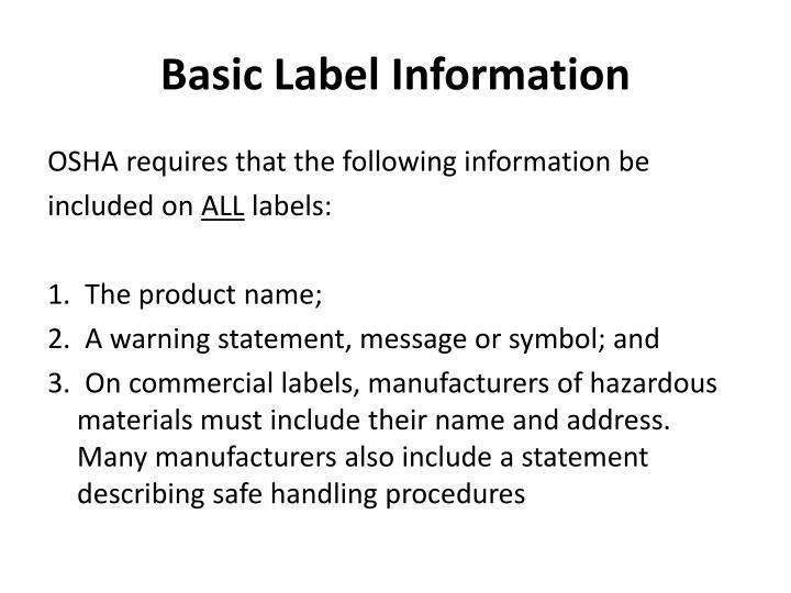 Basic Label Information