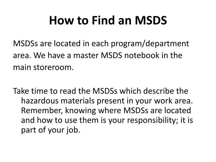 How to Find an MSDS